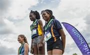 17 May 2017; The podium of the Junior girls 100m race during the Irish Life Health Leinster Schools Track and Field Day 1 at Morton Stadium in Santry, Dublin. Photo by David Fitzgerald/Sportsfile