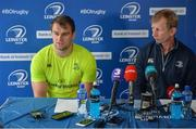 18 May 2017; Rhys Ruddock of Leinster and Leinster head coach Leo Cullen during a Leinster Rugby Press Conference at RDS Arena, Ballsbridge, in Dublin. Photo by Sam Barnes/Sportsfile