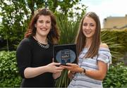 18 May 2017; Caroline Millar, left, sales executive for The Croke Park Hotel, presents Michelle Farrell of Longford Ladies Gaelic Football with The Croke Park Hotel & LGFA Player of the Month for April at The Croke Park, Jones Road, in Dublin. Photo by Ray McManus/Sportsfile