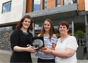 18 May 2017; Michelle Farrell of Longford Ladies Gaelic Football, and her mother Mary, right, are presented with The Croke Park Hotel & LGFA Player of the Month for April by Caroline Millar, left, sales executive for The Croke Park Hotel, Dublin. Photo by Ray McManus/Sportsfile