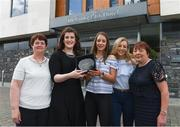 18 May 2017; Michelle Farrell, centre, of Longford Ladies Gaelic Football, her mother Mary, left, and family friends Rebecca Gibson and Noleen Kirwan are presented with The Croke Park Hotel & LGFA Player of the Month for April by Caroline Millar, second from left, sales executive for The Croke Park Hotel, Dublin. Photo by Ray McManus/Sportsfile