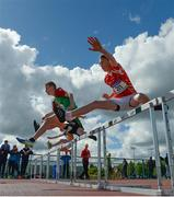 18 May 2017; Athletes clear the first hurdle of the Junior Boys Hurdle event during the Irish Life Health Connacht Schools Track and Field Championships at A.I.T, Athlone, in Co. Westmeath. Photo by Cody Glenn/Sportsfile
