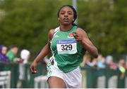 18 May 2017; Gospel Idahor, from Moyne College, Mayo, on her way to winning the Intermediate Girls 100 meters event during the Irish Life Health Connacht Schools Track and Field Championships at A.I.T, Athlone, in Co. Westmeath. Photo by Cody Glenn/Sportsfile