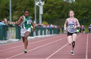 18 May 2017; Gospel Idahor, left, from Moyne College, Mayo, on her way to winning the Intermediate Girls 100 meters event ahead of Alana McGuinness, from Mohill Community College, Leitrim, during the Irish Life Health Connacht Schools Track and Field Championships at A.I.T, Athlone, in Co. Westmeath. Photo by Cody Glenn/Sportsfile
