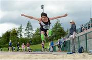 18 May 2017; Asad Munir, from St Attracta's Community School, Co Sligo, competes in the Minor Boys Long Jump event, during the Irish Life Health Connacht Schools Track and Field Championships at A.I.T, Athlone, in Co. Westmeath. Photo by Cody Glenn/Sportsfile
