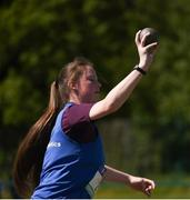 18 May 2017; Cora Ryan, from Abbey Community College Roscrea, competes in the Intermediate Girls Shot Put event during the Irish Life Health Connacht Schools Track and Field Championships at A.I.T, Athlone, in Co. Westmeath. Photo by Cody Glenn/Sportsfile