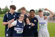 18 May 2017; Sligo Grammar School team-mates during the Irish Life Health Connacht Schools Track and Field Championships at A.I.T, Athlone, in Co. Westmeath. Photo by Cody Glenn/Sportsfile