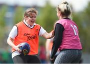 19 May 2017; The first ever Cadbury #BoostYourAwareness Touch rugby Blitz took place today in Lansdowne Rugby Football Club. The day-long event, which was held in aid of Cadbury's charity partner Aware, aims to highlight and educate participants on the importance of maintaining positive mental health by staying active. Pictured is former Ireland International Women's Rugby player Fiona Coghlan, playing for the Newstalk team, in action at Lansdowne RFC in Lansdowne Road, Dublin. Photo by Cody Glenn/Sportsfile