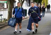 19 May 2017; Leinster's Cian Healy, right, and Mike Ross arrive prior to the Guinness PRO12 Semi-Final match between Leinster and Scarlets at the RDS Arena in Dublin. Photo by Stephen McCarthy/Sportsfile