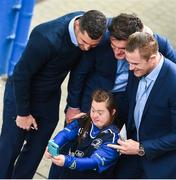19 May 2017; Leinster supporter Jennifer Malone with players, from left, Rob Kearney, Tom Daly and Jamie Heaslip ahead of the Guinness PRO12 Semi-Final match between Leinster and Scarlets at the RDS Arena in Dublin. Photo by Ramsey Cardy/Sportsfile