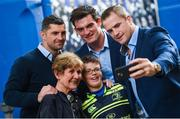 19 May 2017; Leinster supporters with Rob Kearney, Tom Daly and Jamie Heaslip ahead of the Guinness PRO12 Semi-Final match between Leinster and Scarlets at the RDS Arena in Dublin. Photo by Ramsey Cardy/Sportsfile