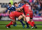 19 May 2017; Luke McGrath of Leinster is tackled by Ryan Elias, left, and Samson Lee of Scarlets during the Guinness PRO12 Semi-Final match between Leinster and Scarlets at the RDS Arena in Dublin. Photo by Stephen McCarthy/Sportsfile