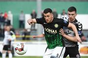 19 May 2017; Aaron Greene of Bray Wanderers in action against Dan Byrne of Bohemians during the SSE Airtricity League Premier Division match between Bray Wanderers and Bohemians at the Carlisle Grounds in Bray, Co Wicklow. Photo by David Maher/Sportsfile