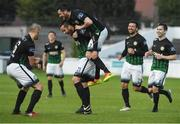 19 May 2017; Tim Clancy, second from left, of Bray Wanderers celebrates after scoring his side's first goal with teammates, from left, Dylan Connolly and Ryan Brennan during the SSE Airtricity League Premier Division match between Bray Wanderers and Bohemians at the Carlisle Grounds in Bray, Co Wicklow. Photo by David Maher/Sportsfile