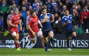 19 May 2017; Luke McGrath of Leinster races clear of the Scarlets defence during the Guinness PRO12 Semi-Final match between Leinster and Scarlets at the RDS Arena in Dublin. Photo by Brendan Moran/Sportsfile