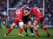 19 May 2017; Cian Healy of Leinster is tackled by Jonathan Davies, left, and Tadhg Beirne of Scarlets during the Guinness PRO12 Semi-Final match between Leinster and Scarlets at the RDS Arena in Dublin. Photo by Stephen McCarthy/Sportsfile