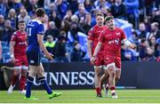 19 May 2017; Steffan Evans of Scarlets remonstrates with Garry Ringrose of Leinster after being shown a red card during the Guinness PRO12 Semi-Final match between Leinster and Scarlets at the RDS Arena in Dublin. Photo by Ramsey Cardy/Sportsfile