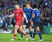 19 May 2017; Steffan Evans of Scarlets walks past Garry Ringrose of Leinster after being show a red card for a tackle on Ringrose during the Guinness PRO12 Semi-Final match between Leinster and Scarlets at the RDS Arena in Dublin. Photo by Brendan Moran/Sportsfile