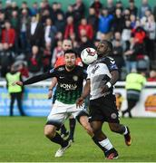 19 May 2017; Fuad Sule of Bohemians in action against Jason Marks of Bray Wanderers during the SSE Airtricity League Premier Division match between Bray Wanderers and Bohemians at the Carlisle Grounds in Bray, Co Wicklow. Photo by David Maher/Sportsfile