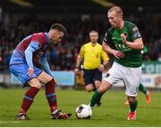 19 May 2017; Stephen Dooley of Cork City in action against Shane Elworthy of Drogheda United during the SSE Airtricity League Premier Division game between Cork City and Drogheda United at Turners Cross in Cork. Photo by Eóin Noonan/Sportsfile