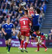 19 May 2017; Adam Byrne, centre, and Joey Carbery of Leinster in action against Rob Evans, left, and Steffan Evans of Scarlets during the Guinness PRO12 Semi-Final match between Leinster and Scarlets at the RDS Arena in Dublin. Photo by Ramsey Cardy/Sportsfile