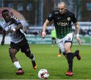 19 May 2017; Dylan Connolly of Bray Wanderers in action against Fuad Sule of Bohemians during the SSE Airtricity League Premier Division match between Bray Wanderers and Bohemians at the Carlisle Grounds in Bray, Co Wicklow. Photo by David Maher/Sportsfile