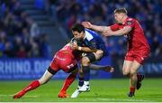 19 May 2017; Joey Carbery of Leinster is tackled by Johnny McNicholl, left, and James Davies of Scarlets during the Guinness PRO12 Semi-Final match between Leinster and Scarlets at the RDS Arena in Dublin. Photo by Stephen McCarthy/Sportsfile