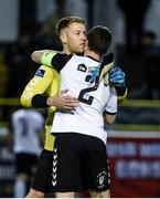 19 May 2017; Bohemians goalkeeper Shane Supple celebrates with Derek Pender at the end of the SSE Airtricity League Premier Division match between Bray Wanderers and Bohemians at the Carlisle Grounds in Bray, Co Wicklow. Photo by David Maher/Sportsfile