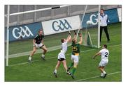 5 June 2011; The salmon of knowledge. Meath's Graham Geraghty times his leap to perfection to palm the ball to the Kildare net. The umpire is perfectly positioned but the 'score', which comes soon after Geraghty's emergence from retirement and the bench, is not awarded by referee Syl Doyle and Meath lose. Picture credit; Brendan Moran / SPORTSFILE