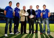 22 November 2011; In attendance at the Off the Booze on the Ball launch are Melvin Gael's players, from left to right, Emlyn Mulligan, Stephen McGurn, James Phelan and Paul Brennan with manager Billy Gavigan and Club Chairman Joe McCarron, right. The fun challenge with a healthy twist invites participants to abstain from alcohol for the month of January and in doing so seek sponsorship to go towards their local GAA club. Croke Park, Dublin. Picture credit: Paul Mohan / SPORTSFILE