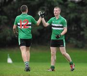 23 November 2011; Barry Madden, Colaiste an Spioraid Naoimh, celebrates with team-mate Conor Horgan, after scoring his side's second goal. Corn Ui Mhuiri Senior 'A' Football Championship, Colaiste an Spioraid Naoimh v Colaiste Chríost Rí, Ballincollig GAA Club, Co. Cork. Picture credit: Diarmuid Greene / SPORTSFILE