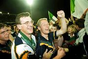 October 1999; Manager Colm O'Rourke and Graham Geraghty celebrate victory after the game. Ireland v Australia Ireland's 2nd Test, Football Park, Adelaide. International Rules. Picture credit; Ray McManus/SPORTSFILE
