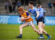 20 May 2017; Kian Gilmore of Longford in action against Ciarán Archer of Dublin during the Electric Ireland Leinster GAA Minor Football Championship Quarter-Final match between Dublin and Longford at Parnell Park in Dublin. Photo by Sam Barnes/Sportsfile