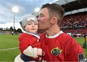 20 May 2017; Peter O'Mahony of Munster with his daughter Indie after the Guinness PRO12 semi-final between Munster and Ospreys at Thomond Park in Limerick. Photo by Diarmuid Greene/Sportsfile