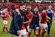 20 May 2017; Conor Murray, left, and Simon Zebo of Munster celebrate after the Guinness PRO12 semi-final between Munster and Ospreys at Thomond Park in Limerick. Photo by Diarmuid Greene/Sportsfile