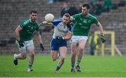 20 May 2017; Colin Walshe of Monaghan in action against Barry Mulrone and Ryan Jones of Fermanagh  during the Ulster GAA Football Senior Championship Preliminary Round match between Monaghan and Fermanagh at St Tiernach's Park in Clones, Co. Monaghan. Photo by Oliver McVeigh/Sportsfile