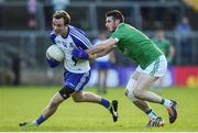 20 May 2017; Jack McCarron of Monaghan in action against Mickey Jones of Fermanagh during the Ulster GAA Football Senior Championship Preliminary Round match between Monaghan and Fermanagh at St Tiernach's Park in Clones, Co. Monaghan. Photo by Philip Fitzpatrick/Sportsfile