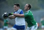 20 May 2017; Conor McManus of Monaghan  in action against Che Cullen of Fermanagh during the Ulster GAA Football Senior Championship Preliminary Round match between Monaghan and Fermanagh at St Tiernach's Park in Clones, Co. Monaghan. Photo by Oliver McVeigh/Sportsfile