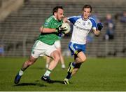 20 May 2017; Paul McCusker of Fermanagh in action against Jack Mc Carron of Monaghan during the Ulster GAA Football Senior Championship Preliminary Round match between Monaghan and Fermanagh at St Tiernach's Park in Clones, Co. Monaghan. Photo by Oliver McVeigh/Sportsfile