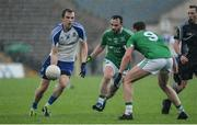 20 May 2017; Jack McCarron of Monaghan in action against Paul McCusker and Lee Cullen of Fermanagh  during the Ulster GAA Football Senior Championship Preliminary Round match between Monaghan and Fermanagh at St Tiernach's Park in Clones, Co. Monaghan. Photo by Oliver McVeigh/Sportsfile