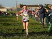 27 November 2011; Jodie McCann, Dundrum South Dublin AC, crosses the finish line to win the Girl's U12 race at the Woodie's DIY Inter County Cross Country Championships. Sligo Racecourse, Sligo. Picture credit: Pat Murphy / SPORTSFILE