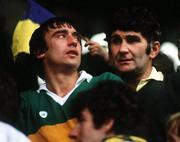 """21 September 1986; Kerry manager Mick O'Dwyer, right, with Denis """" Ogie """" Moran, left, after victory over Tyrone. Kerry v Tyrone, All-Ireland Football Final, Croke Park, Dublin. Picture credit; Ray McManus / SPORTSFILE"""