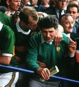 21 September 1986; Kerry manager Mick O'Dwyer celebrates with Jack O'Shea after victory over Tyrone. Kerry v Tyrone, All-Ireland Football Final, Croke Park, Dublin. Picture credit; Ray McManus / SPORTSFILE