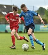 21 May 2017; Cian Kelly of Dublin District Schoolboys League in action against Patrick Montgomery of Sligo Leitrim Schoolboys League during the Subway SFAI U13 Final match between Sligo Leitrim Schoolboys League and Dublin District Schoolboys League in Cahir, Co Tipperary. Photo by David Maher/Sportsfile