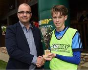 21 May 2017; Aaron O'Reilly of Dublin District Schoolboys League is presented with the man of the match award from Eamonn Duggan of Subway at the end of the Subway SFAI U13 Final match between Sligo Leitrim Schoolboys League and Dublin District Schoolboys League in Cahir, Co Tipperary. Photo by David Maher/Sportsfile