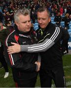 21 May 2017; Mayo manager Stephen Rochford, left, and Sligo manager Naill Carew following the Connacht GAA Football Senior Championship Quarter-Final match between Mayo and Sligo at Elvery's MacHale Park in Castlebar, Co Mayo. Photo by Stephen McCarthy/Sportsfile