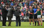 21 May 2017; Mayo captain Cillian O'Connor and Sligo captain Neil Ewing poses for photographers in the company of referee Seán Hurson prior to the Connacht GAA Football Senior Championship Quarter-Final match between Mayo and Sligo at Elvery's MacHale Park in Castlebar, Co. Mayo. Photo by Stephen McCarthy/Sportsfile