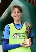 21 May 2017; Aaron O'Reilly of Dublin District Schoolboys League with the man of the match award at the end of the Subway SFAI U13 Final match between Sligo Leitrim Schoolboys League and Dublin District Schoolboys League in Cahir, Co Tipperary. Photo by David Maher/Sportsfile