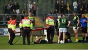 21 May 2017; Matthew Fitzpatrick lies injured during the Ulster GAA Football Senior Championship Quarter-Final match between Donegal and Antrim at MacCumhaill Park in Ballybofey, Co Donegal. Photo by Philip Fitzpatrick/Sportsfile