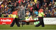 21 May 2017; Matthew Fitzpatrick is stretchered off the field with an injury during the Ulster GAA Football Senior Championship Quarter-Final match between Donegal and Antrim at MacCumhaill Park in Ballybofey, Co Donegal. Photo by Philip Fitzpatrick/Sportsfile